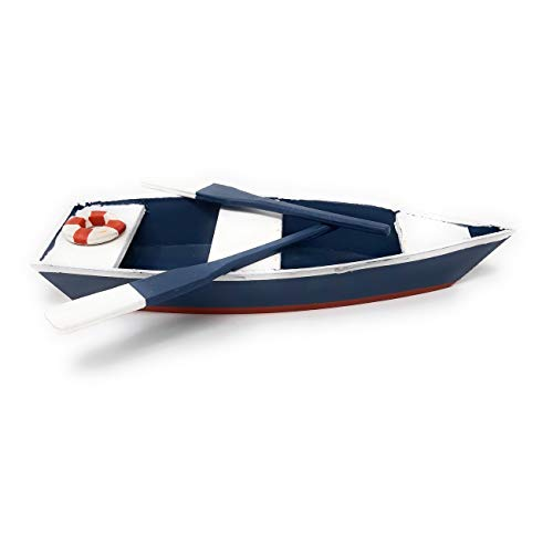 Formano 591777 Holzboot mit Paddel 24cm von Hand gefertigt und blau-weiss bemalt; ohne Frosch!!