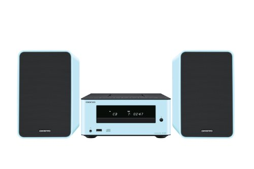 Onkyo CS-255 (BL) HiFi-Minisystem (15 Watt, 84dB, Super Bass, UKW-Tuner, CD-Player) inkl. Dock für Apple iPhone 5 mit 2-Wege Lautsprecher blau - Cd-player Mit Iphone-dock