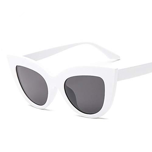 MJDABAOFA Sonnenbrillen,Vintage Cat Eye Sonnenbrille Frauen Mode Getönte Linse Männer Geprägt Weiß Sonnenbrille Cateye Spiegel Sonnenbrille Uv400