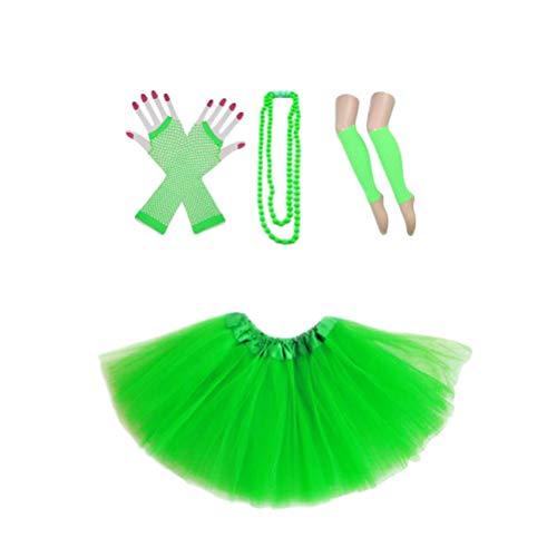 BESTOYARD Mädchen 80er Jahre Kostüm mit Tutu Beinwärmer Handschuhe Perlenkette für Ostern Hochzeit Geburtstag (Grün) (Kostüm Kleid 80er-jahre-hochzeit)