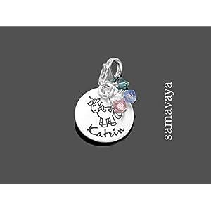Charm mit Gravur Kinderschmuck EINHORN 925 Silber Namensanhänger mit Gravur Unicorn