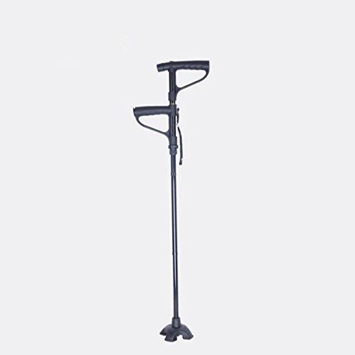 Alluminio Pieghevole Quattro Nodi Canna Doppio Manico Retrattile Alpenstock Regolabile Antiscivolo Anziani Stampella,Black-95-102cm