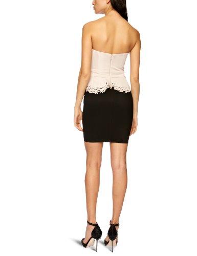 Lipsy Damen Cocktail Kleid Cutwork peplum dress Mehrfarbig (Black/Nude)