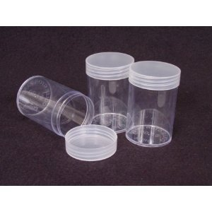 COIN STORAGE TUBES, round clear plastic w/ screw on tops for CENTS / PENNIES (Quantity of 10 tubes) by DOMAGRON Coins