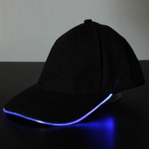 Bluelover Luce Led Glow Club Party Sport Atletico Tessuto Nero Viaggio Cappello Cap - Blu