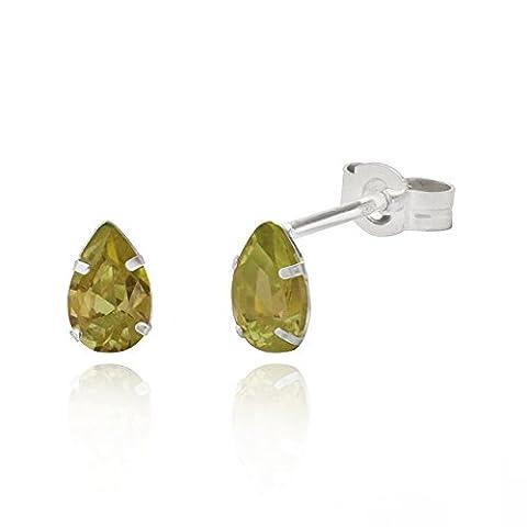 Sterling Silver 4x6mm teardrop Dark Peridot Cubic Zirconia stud earrings / Gift box