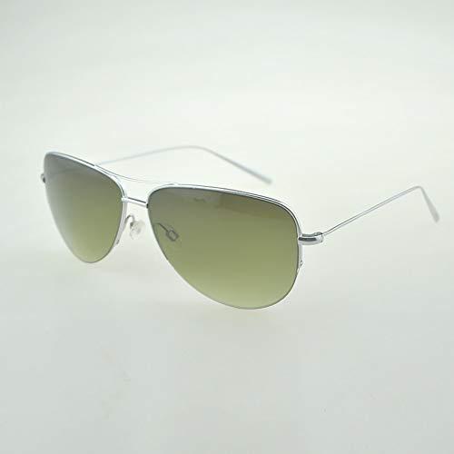 LKVNHP Hohe Qualität Super Licht 12G Sonnenbrille Reines Titanium Rahmen Mit Verlaufsglas Sonnenbrille Männer Unisex Marke SonnenbrilleSilber Vs Grün