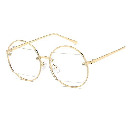 WYJW Männer und Frauen Modelle hohl Sonnenbrille runden Rahmen Spiegel Diamant Mode Metall Trim Sonnenbrille Sonnenbrille