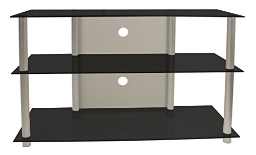 VCM 14165 Onata XXL Meuble TV Aluminium/Verre Argent/Noir