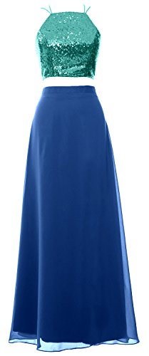 MACloth Women 2 Piece Long Bridesmaid Dress Sequin Prom Homecoming Formal Gown Turquoise-Blue