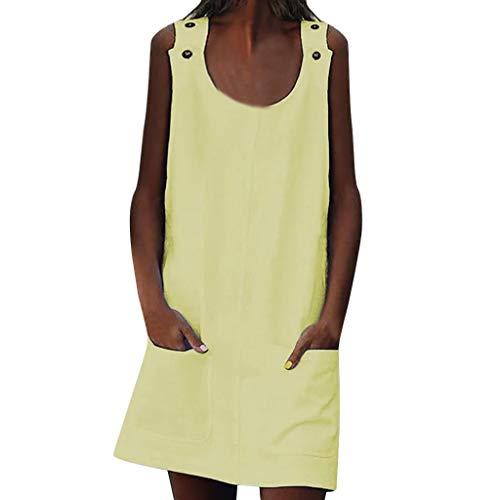 Kleid, Rundhalsausschnitt Damen Kleider Shift Daily Beiläufig Taste Einfach Baumwolle Kleider Ladies Stilvoll Minikleid EIN Online-Kleid