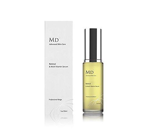 MD3 Anti Aging Retinol (2%) Serum mit Multi-Vitaminen | 30ml | Für faltenfreie, hydratisierte und glatte Haut und Gesicht | Natürliches Gesichtsserum | Professioneller Bereich | Für Männer und Frauen