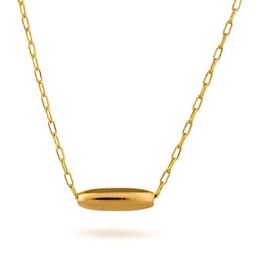 Gold Filled Tiny Rice Halskette Form Bead Charm Halskette L?nge 41cm / 16inch + 5cm Extender - Winzige Gold-charme-halskette