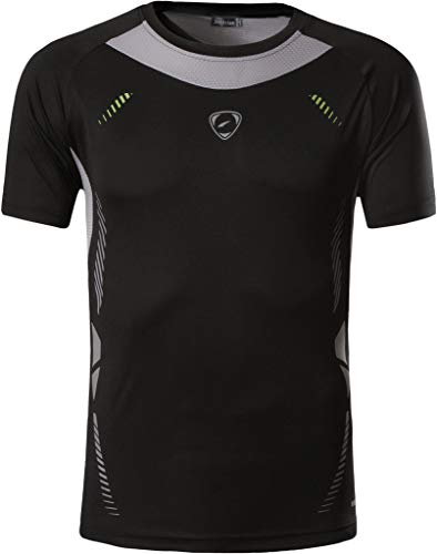 jeansian Herren Sportswear Quick Dry Short Sleeve T-Shirt LSL3225_Black XL - Aktiv Short Sleeve Top