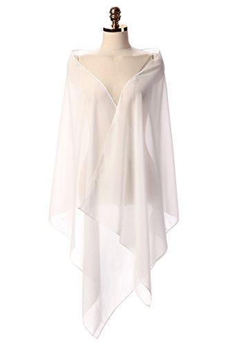 CoCogirls Chiffon Stola Schal für Abendkleid Weicher Chiffon-Shawl wickelt jedem Brautkleid - Ballkleid, Hochzeit Abend Gala Empfang Ivory