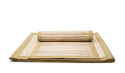 Tischsets Vinyl-chevron (HANDGEWEBT Woven Umweltfreundlich Tisch-Sets Set von 6Banana Bark Matte mit Nylon verziehen und Textilrand 33x 48,3cm für Küche Esszimmer Home decor-with einer Baumwolle Tasche)