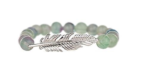 Traumfänger TFSB03SGF Damen Armband Feder Edelstahl Silber Grün Grüner Fluorit 17 cm