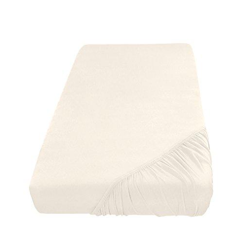 Spannbettlaken Bettlaken 120x200 cm/Spannbetttuch Spannleintuch aus Jersey Baumwolle in naturweiß/creme