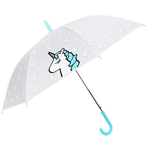 Paraguas Unicornio - Paraguas Transparente de Unicornio - a Prueba de Viento y a Prueba de Lluvia, patrón de Estrellas de la Moda, Mango en J, niños, Azul