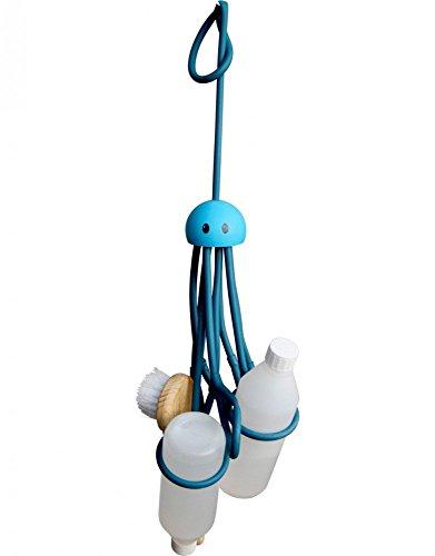 """Shampoohalter Duschgelhalter """"Octopus"""" ca. 33 cm lang zum Hängen verstellbare Schlaufen Latex blau"""