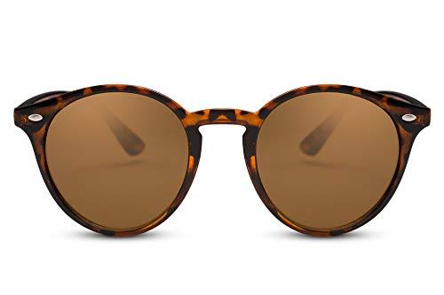Cheapass Sonnenbrille Braun Runde Brille Schwarz Leo-Print UV-400 Retro Damen Herren
