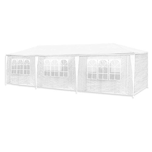 HG® 3x9m Festzelt Weiß Pavillion Vereinszelt Polyethylen Stahlrohre mit 6 Seitenteilen und 2 Eingängen Wasserdicht inkl. 6 abnehmbaren Seiten (3'9)