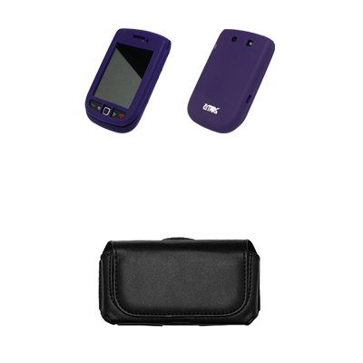 EMPIRE Noir Leather Cuir Case Étui Coque Pouch with Clip Ceinture and Boucles de Ceinture + Purple Silicone Skin Cover Couverture Case Étui Coque for BlackBerry Torch 9800