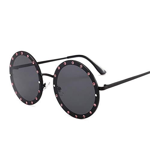 MoHHoM Sonnenbrille Oversized Runde Niet Designer Sonnenbrille Frauen Vintage Metallrahmen, Klare Gläser Sonnenbrille Pink Gelb Blau Brille Schwarz
