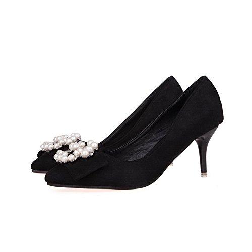 AalarDom Femme Suédé Couleur Unie Stylet Pointu Chaussures Légeres Noir-Bijou