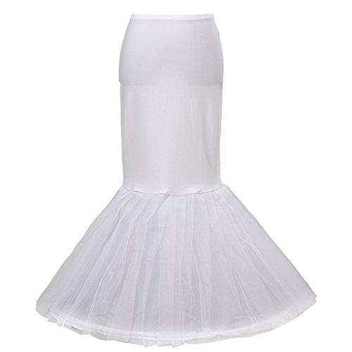 HIMRY Enagua Fishtail sirena 1 Aro 1 capas de tul 1 capa de nylon, largo Miriñaque, Crinolina Boda, Aros ajustable, Un tamaño, conveniente para el tamaño XS, S, M, L, XL, XXL, blanco, KXB-020 White