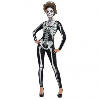 Amscan International Standard Erwachsene Kostüm Catsuit Skelett, Schwarz