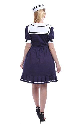 Nuoqi® Femmes Cotton Manches courtes Sailor Fantaisie Robe Costume avec Chapeau Lolita Robe GC167