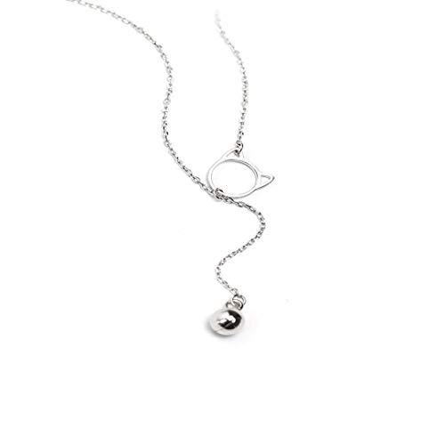 AMOYER Damen-Halskette mit Katzenklingel, Lange Schlüsselbeinkette, Legierung, Schmuck für Frauen