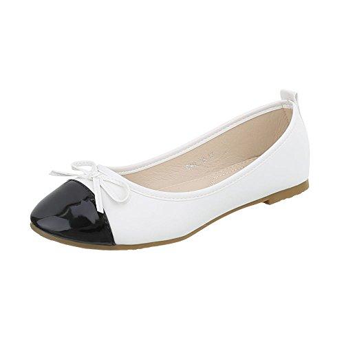 (Ital-Design Klassische Ballerinas Damen-Schuhe Klassische Ballerinas Blockabsatz Blockabsatz Ballerinas Weiß Schwarz, Gr 38, Gaq-10-)