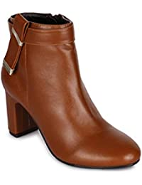 Bruno Manetti Women Faux Leather Tan Heel Boots