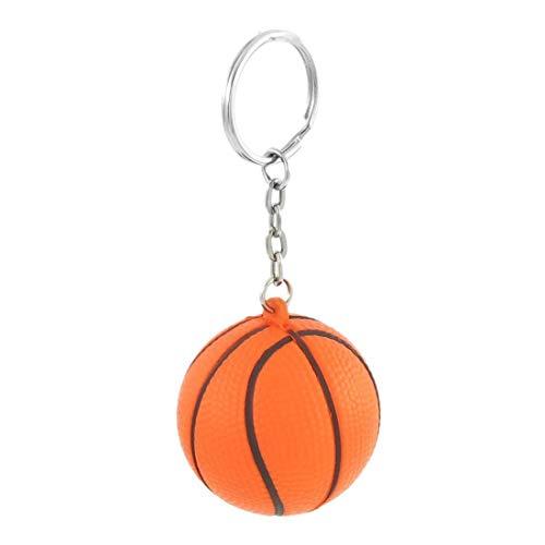 r Geschenk Basketball Form Sport Stress Ball Metall Kette Schlüsselanhänger Stress Ball Schlüsselanhänger (Orange) ()