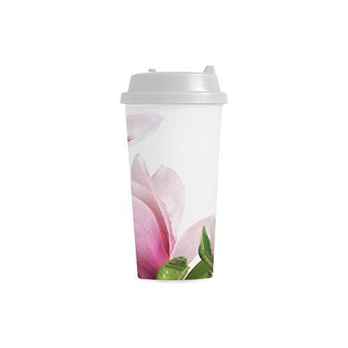 Empfindliche Beautifui Magnolie Gewohnheit 16 Unze Doppelwand Plastikisolierte Sport Wasser Flaschen Becher Pendler Reise Kaffeetassen für Studenten Frauen Milch Teetasse Getränk