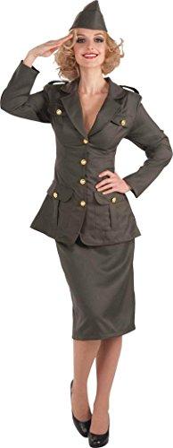 Damen Halloween Junggesellinnenabschied Kleid Militär Soldat WW11 Armee Mädchen Kostüm