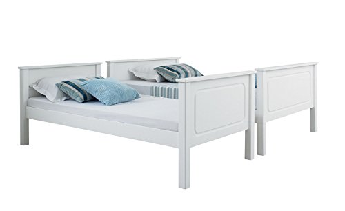 Happy Beds Vancouver Bunk Bed Triple Sleeper White Solid Pine Wood 2x Orthopaedic Mattress 4' Small Double 120 x 190 cm