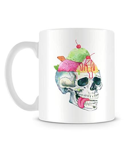 YHMER Cool Hipster Grunge Ice Cream Skull Illustration in Hand Drawn Style Mug