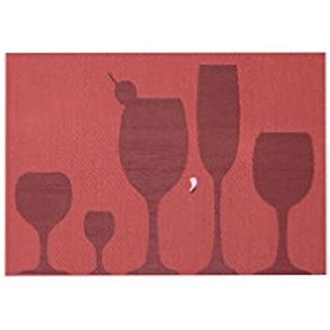 KAIMO Tweed Tessuto Vinile Isolamento termico Macchia resistente Facile da pulire lavabile PVC tovagliette per tavolo da pranzo Tazza, set di 4, PVC, Red, 18*11.6 Inches