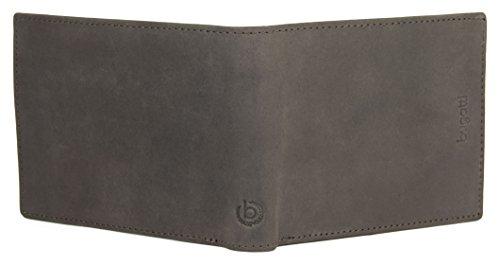 BUGATTI Echtleder Herren Portemonnaie im Querformat, Hochwertige Brieftasche mit Klappfach aus echtem Leder (Schwarz) Dunkelbraun