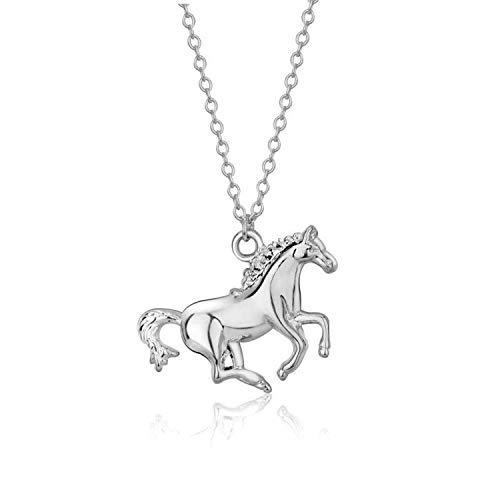 Elegance Parisienne Modische Pferde-Halskette Anhänger | 18k Weißgold plattiert | Für Frauen Damen Kinder Mädchen Horse