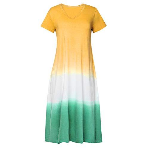 Beonzale Damen Casual Sommer Frauen Plus Size Täglich Tie-Dyed Color Block Lose V-Ausschnitt Kurzarm Maxi-Kleid -