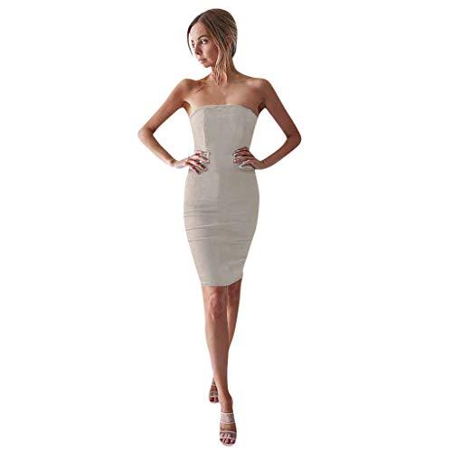 BHYDRY Womens Sommer ärmellos aus Schulter solide sexy Baumwolle böhmischen Kleid