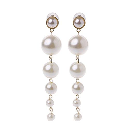 38c4f9e47ec6 Xuniu Elegante Largo Perlas Grandes Pendientes de Gota para Las Mujeres  joyería.