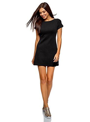 oodji Ultra Damen Kleid Basic mit Rundhalsausschnitt, Schwarz, DE 38 / EU 40 / M