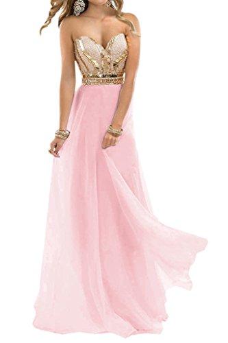Ivydressing Damen A-Linie Beliebt Lang Chiffon Steine Herz-Ausschnitt Promkleid  Festkleid Abendkleid Rosa