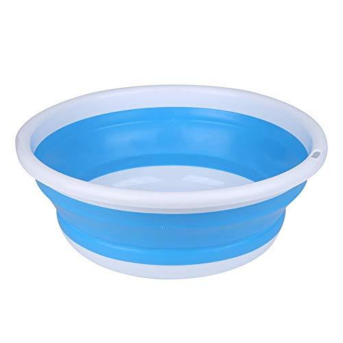 FNCUR Kinder Waschbecken Fischköder Topf Runde Leichte Waschbecken Home Kitchen Use Travel Multifunktions-Kunststoff-Klappwaschbecken (Color : Blue, Größe : L)
