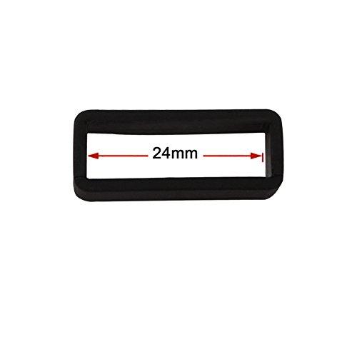 Ritche 18/20/22mm Schwarz Gummi Uhrenarmband Halter Schnalle Ringschleife,Gummi Schnalle Halter - 3